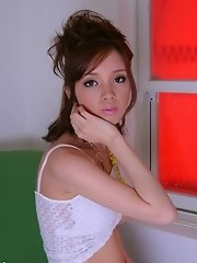 Cute Lina Aishima dildos her pussy