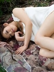 Yura Aikawa cute Asian teen in white dress