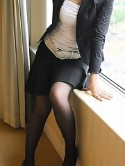 Asian office girl is a slutty in stockings