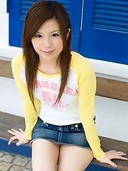 Adorable Asian model has nice legs