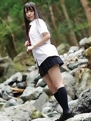 Beautiful and horny Japanese av idol Ruka Kanae dresses in schoolgirl uniform and then goes naked