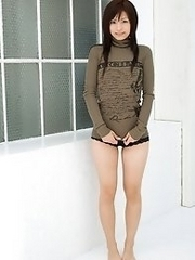 Cute and sexy Japanese av idol Misaki Mori wears cute outfit and strips naked
