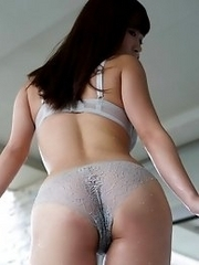 Cute and busty Japanese av idol Mikuru Mio shows her amazing naked body in the bathroom