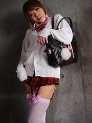 Cute Rui Hazuki poses in hot skirt