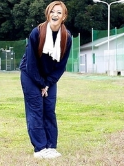 An Umemiya poses out on the field