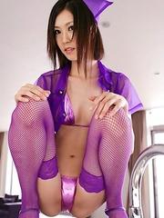 Kotone Amamiya looks so hot in mauve kinky nurse uniform