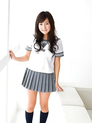 Natsuki Takahashi plays and takes skirt off to show behind