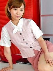 Ichika Nishimura proudly shows sexy legs under short skirt