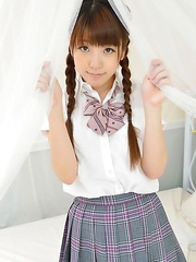 Mizuho Shiraishi with pigtails and uniform sits with ass up