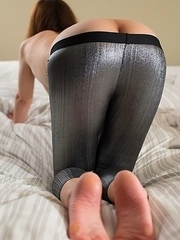 Saori Hirako shows her soles and ass with her silver tights pulled down